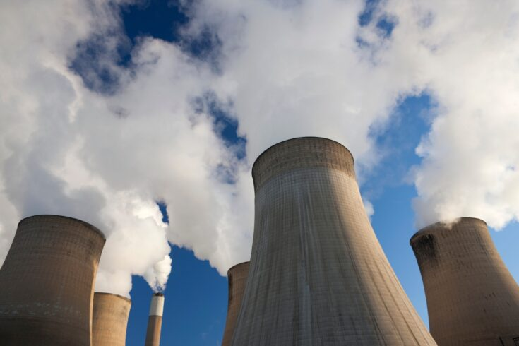 Cooling towers at a coal fueled power station
