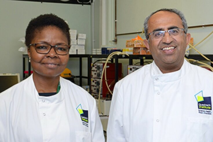 BBSRC scientists: Dr Ngozi Elumogo and Professor Arjan Narbad (Credit: Quadrum Institute)