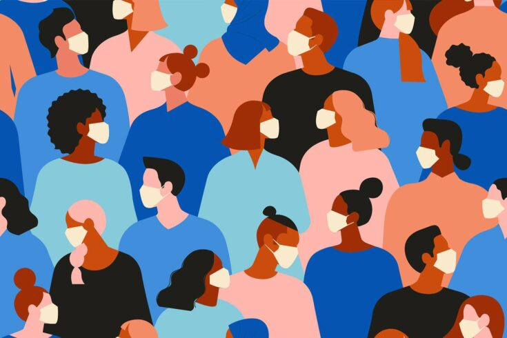 Crowd of people with face masks - illustration