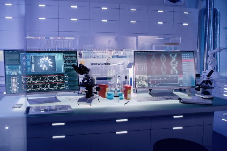 Futuristic laboratory equipment - brainwave scanning research
