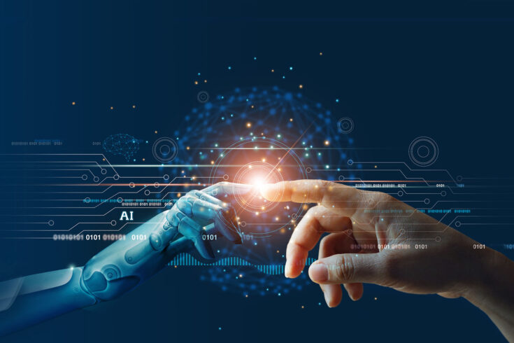 Artificial intelligence, hands of robot and human touching on big data network connection background