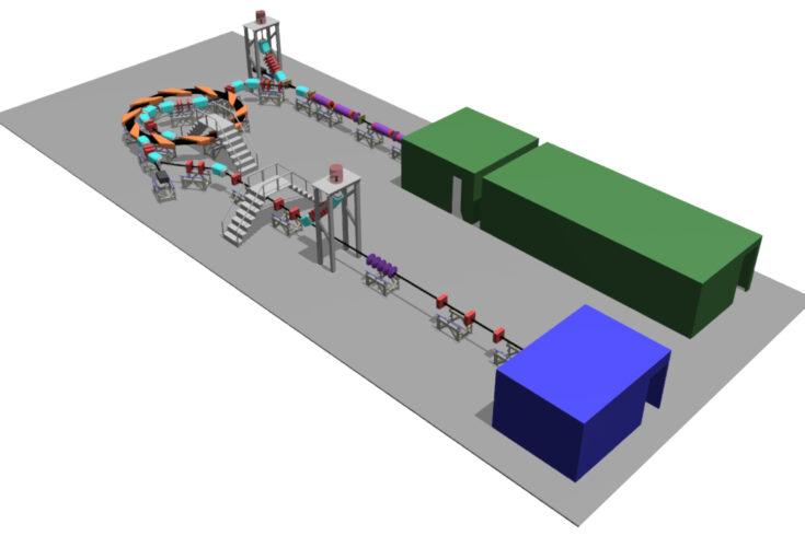 A 3D render of the design for the proposed Laser-hybrid Accelerator for Radiobiological Applications