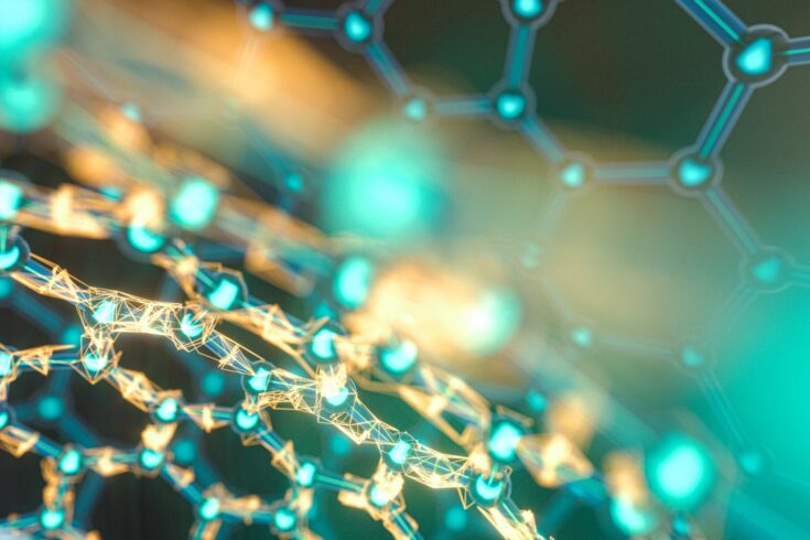 Cells and biological chain, molecules and abstract conception, 3d rendering