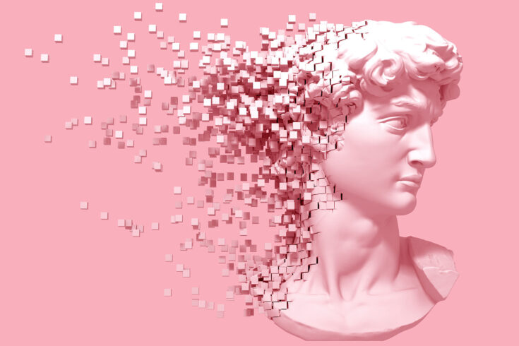 3D illustration, a disintegrating head of David on a pink background.