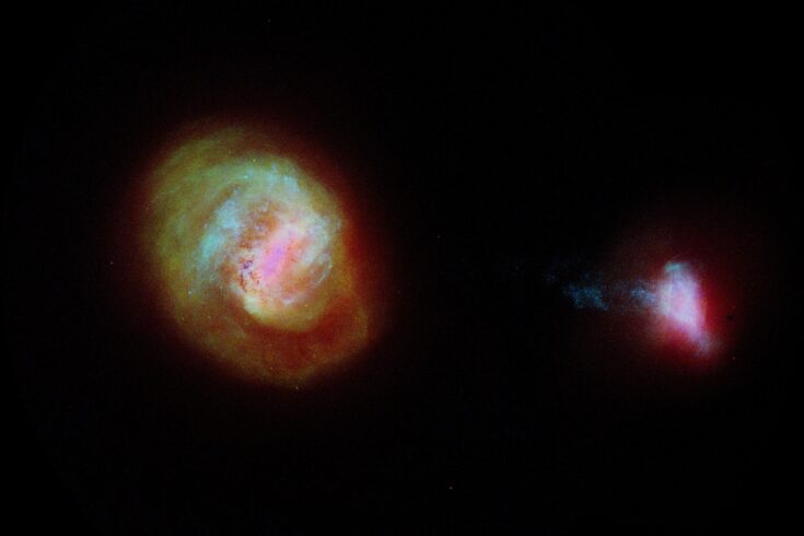 A diagram of the two most important companion galaxies to the Milky Way, the Large Magellanic Cloud or LMC (left) and the Small Magellanic Cloud (SMC) made using data from the European Space Agency Gaia satellite. The two galaxies are connected by a 75,000 light-years long bridge of stars, some of which is seen extending from the left of the SMC.