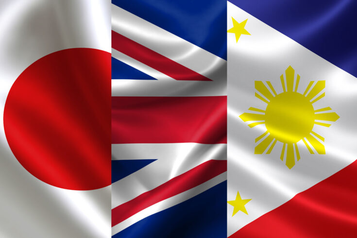 Japan, UK and Philippines flags combined together.