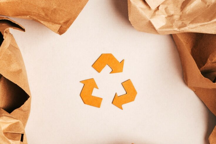Brown recycle logo on white background
