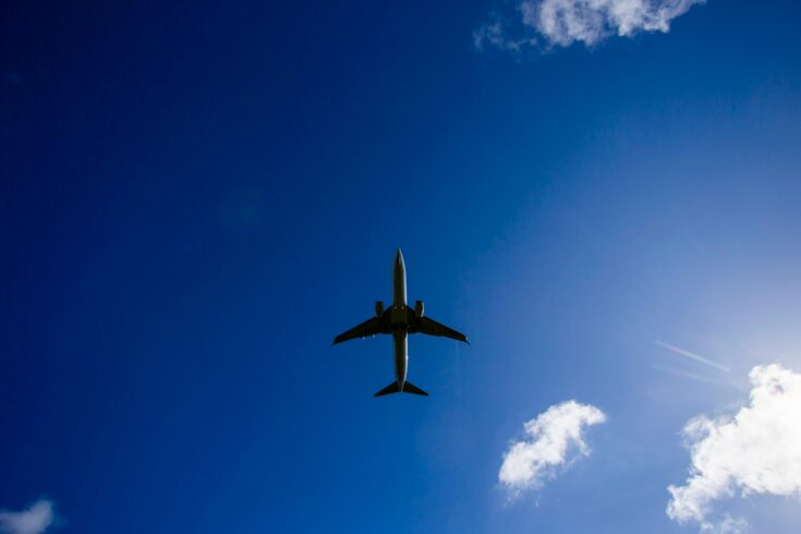 View of plane from below in blue sky