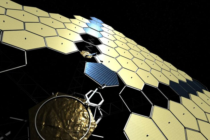 Robots assembling solar panel array in space. Credit: Airbus Defence and Space Limited