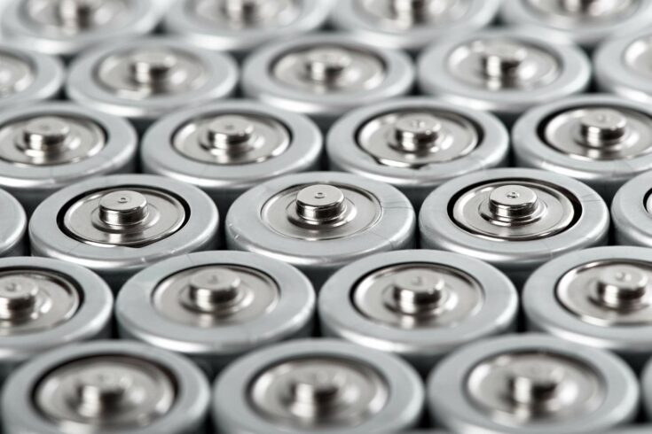 Cylindrical batteries in close-up view from above