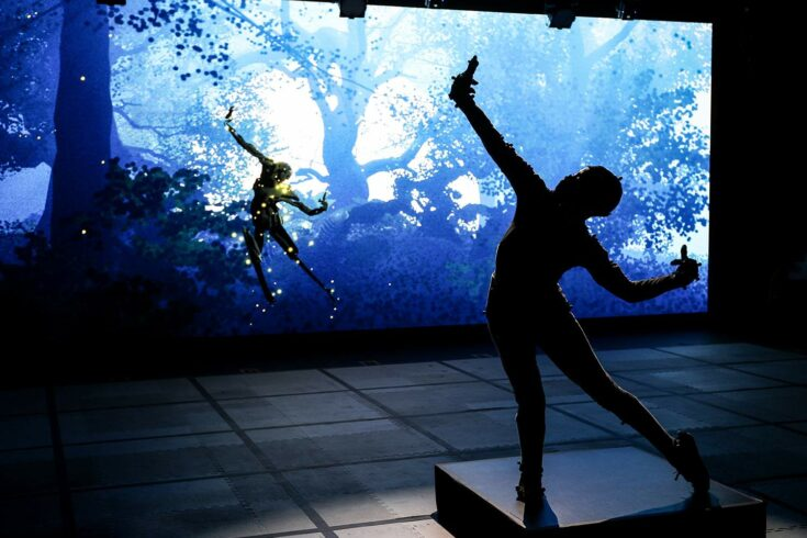 'Dream' rehearsal photo of dancer and screen avatar. Credit: Stuart Martin, Royal Shakespeare Company