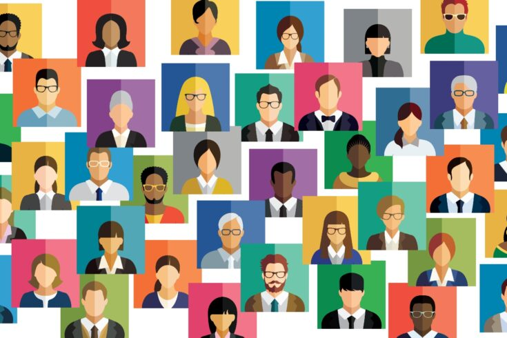 Diverse group of people, social network people icons