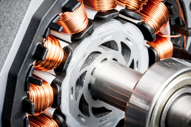 Detail of copper winding, stack and shaft of a electric permeant magnet motor for home appliances