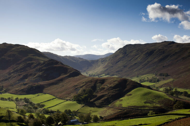Rolling green hills in the Lake District, Cumbria, England, UK. / UKRI, Lake District, Cumbria, England, UK, nature, landscape, rural, outdoors, wild, hills, rolling, green, farming, fields, agriculture