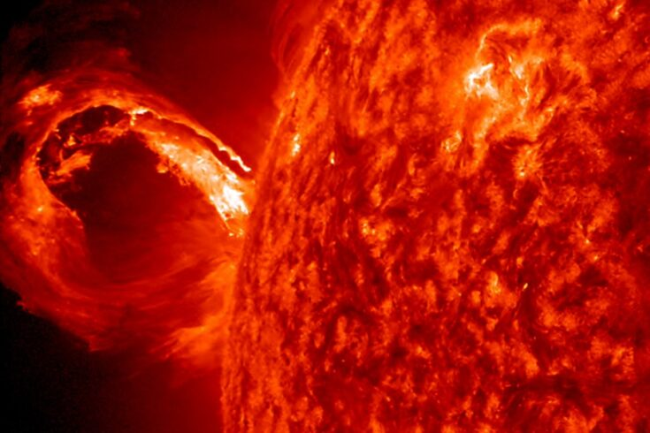 A corona mass ejection, associated with a solar flare