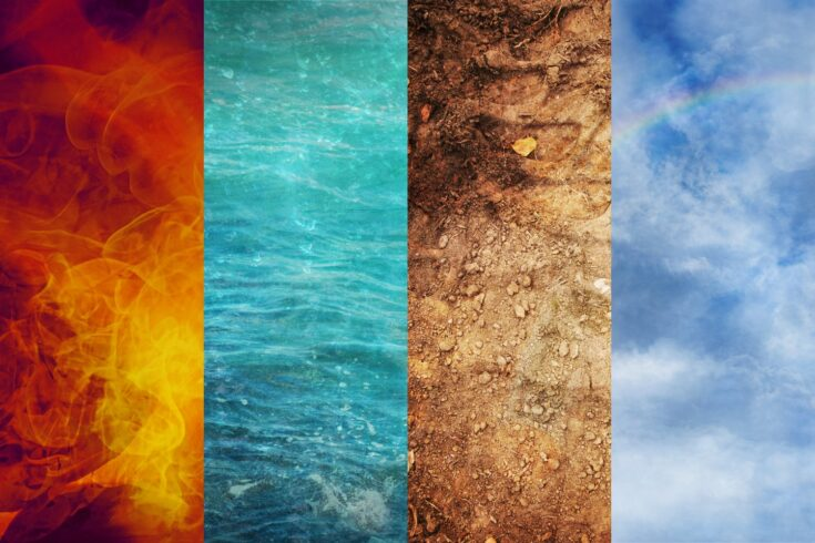 Four elements of nature, fire, water, earth, and air