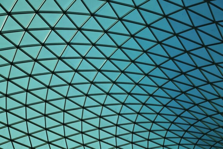 Abstract architecture, blue panel ceiling