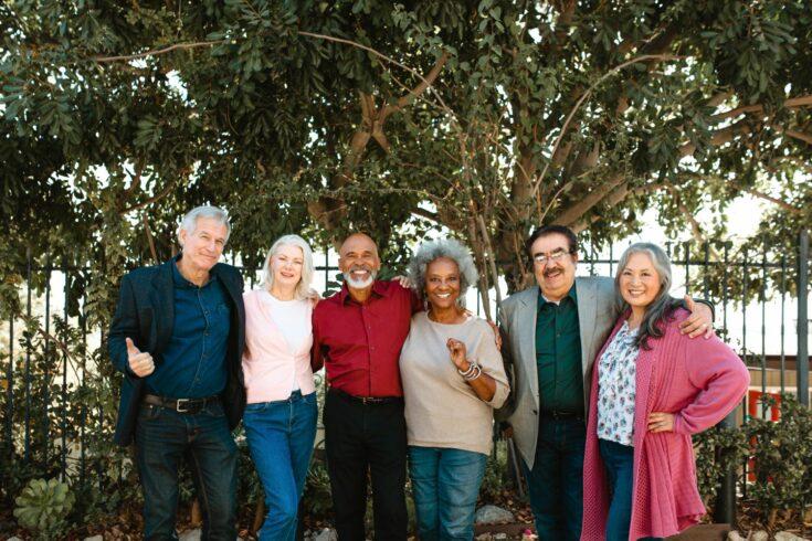 smiling multi-ethnic senior friends