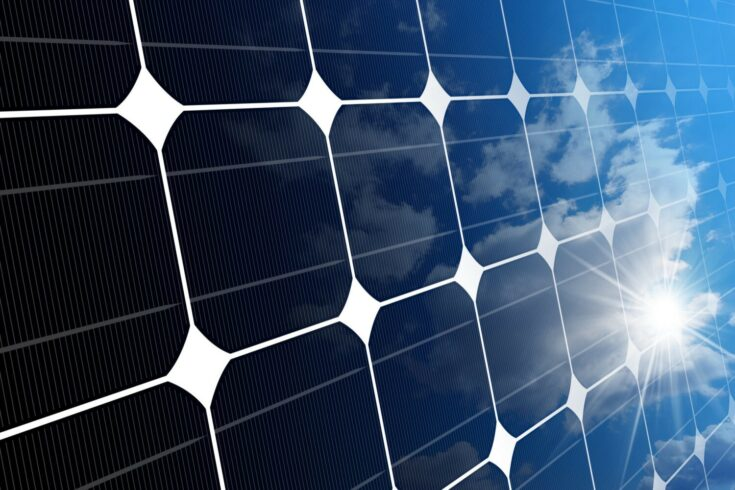 3D illustration of a Solar Panel with with reflections of the sky clouds and sun rays