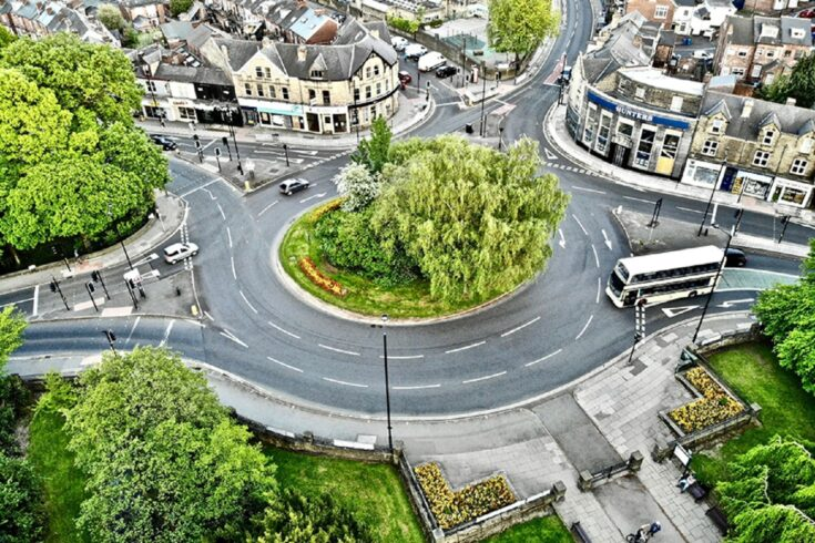 Aerial view of a roundabout