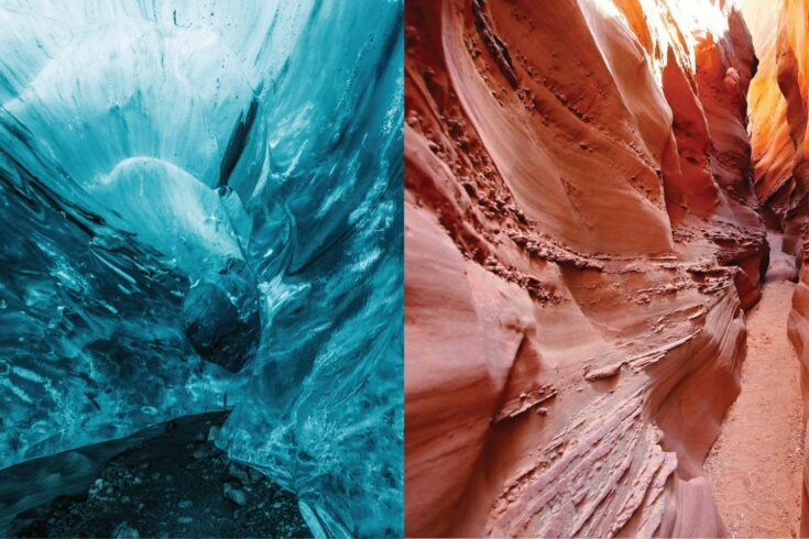 Comparison of ice caves and rocky sand caves