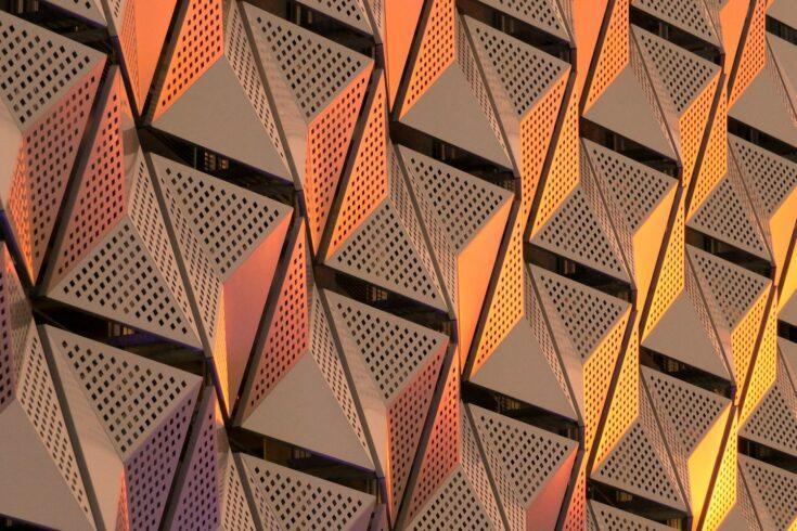 Metallic geometric architecture, abstract