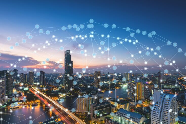 Wireless network technology and connection concept, network on city background