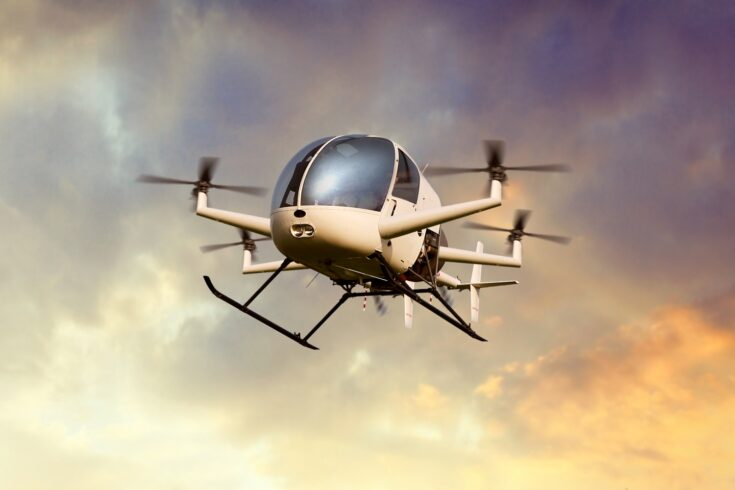 Flying drone transporting people