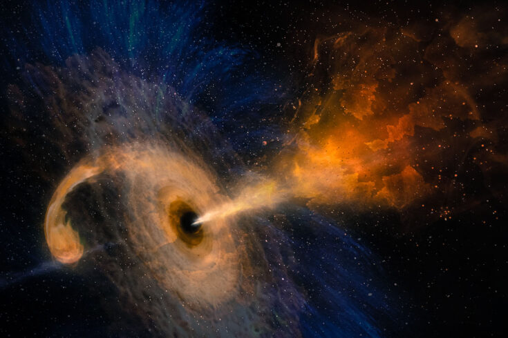 Black hole with nebula over colorful stars and cloud fields in outer space.