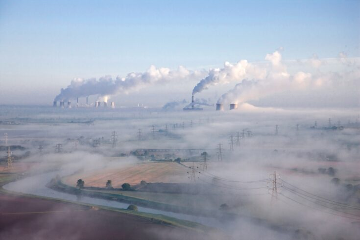 Misty industrial landscape
