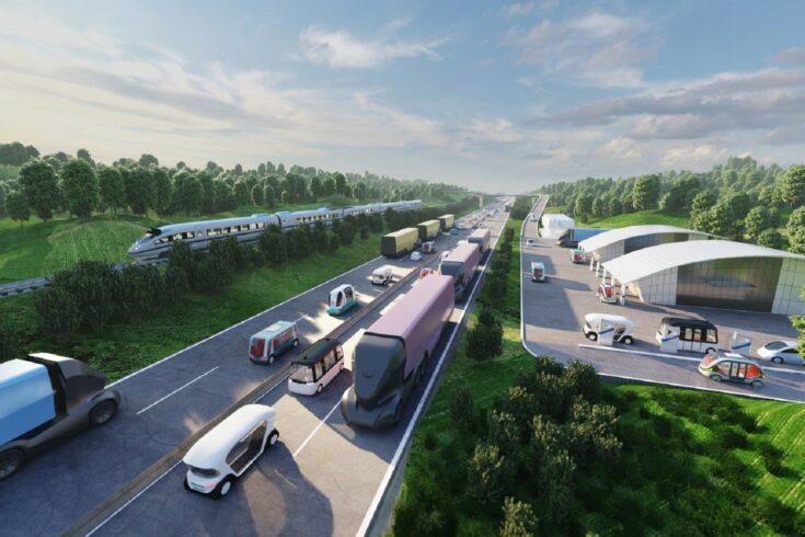 Concept artwork of a highway - Innovate UK Transport Vision 2050