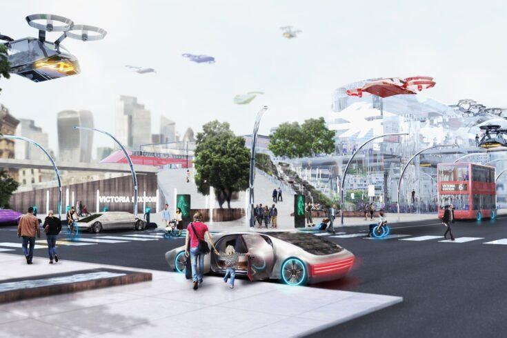 Futuristic city scene with aerial vehicles