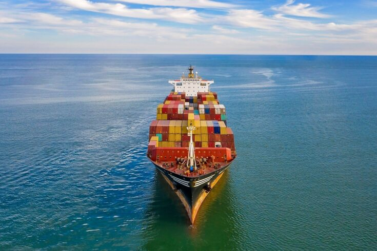 Freight ship with cargo containers.
