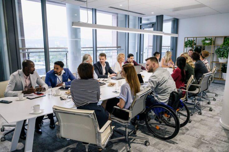 Informal discussions between colleagues in board room